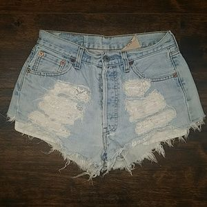 FURST OF A KIND destroyed lace shorts 501 cutoffs